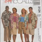 MCCALLS 3124 ADULTS' AND TEEN BOYS SHIRT & SHORTS IN TWO LENGTHS