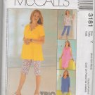 MCCALLS 3181  MATERNITY DRESS, TOPS AND PULL-ON PANTS IN 2 LENGTHS & PULL-ON SKIRT