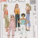 MCCALLS 3197 GIRLS' LINED TOP AND CROPPED PANTS