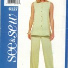 BUTTERICK 6127 MISSES'/ MISSES' PETITE TOP & PANTS