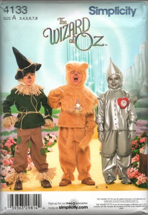 SIMPLICITY 4133 CHILDS' COSTUME -  THE WIZARD OF OZ  SZ 3-8