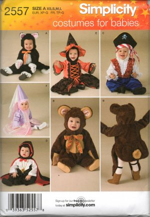 SIMPLICITY  2557 TODDLERS'  COSTUMES, - CAT, BEAR, PIRATE, VAMPIRE, WITCH, PRINCESS SZ 4-8