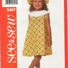 Butterick See & Sew 5407 Children's Dress & Hat SZ 2-4