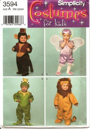 SIMPLICITY 3594 COSTUME TODDLERS (SIZE 1/2-4) MONKEY, FAIRY AND  SAMURAI