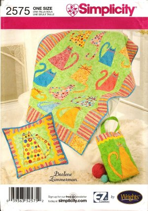 SIMPLICITY 2575- CRAFT CAT QUILT, PILLOW & TOTE