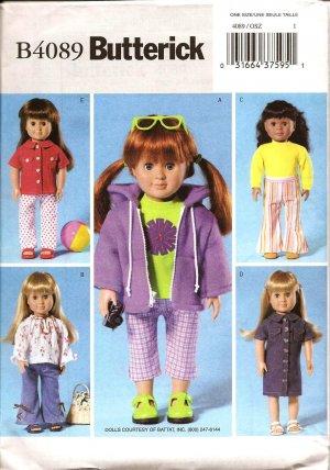 "Butterick B4089 Craft  Pattern 18"" Doll Wardrobe"