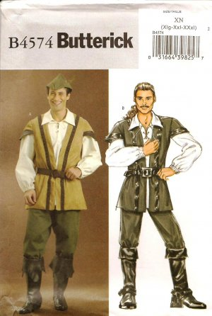 BUTTERICK B4574 MENS COSTUMES-Robin Hood & Pirate  SZ XL,XXL,XXXL
