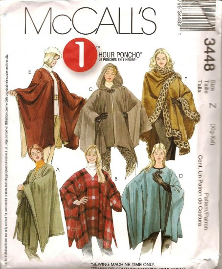 MCCALLS 3448 MISSES' 1 Hour Poncho - SZ XL & XXL