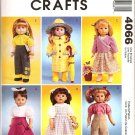 MCCALLS 4066 CRAFT PATTERN- 18 inch DOLL CLOTHES