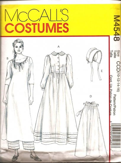 MCCALLS M4548 COSTUME PATTERN  - MISSES EARLY AMERICAN COSTUME SZ:  10,12,14,16