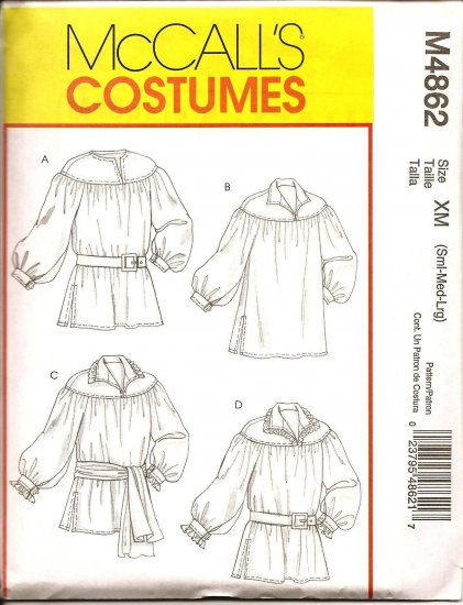 MCCALLS M4862 COSTUME PATTERN  -MEN'S & MISSES' POET SHIRT & SASH