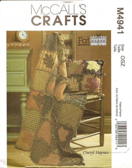 MCCALLS M4941 PATTERN- FAT QUARTERS RUSTIC QUILT & PILLOW