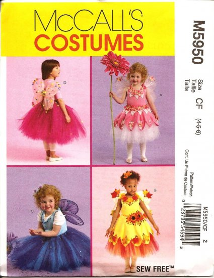 MCCALLS M5950 COSTUME TODDLERS & CHILDRENS' -FAIRY COSTUMES SZ 4,5,6