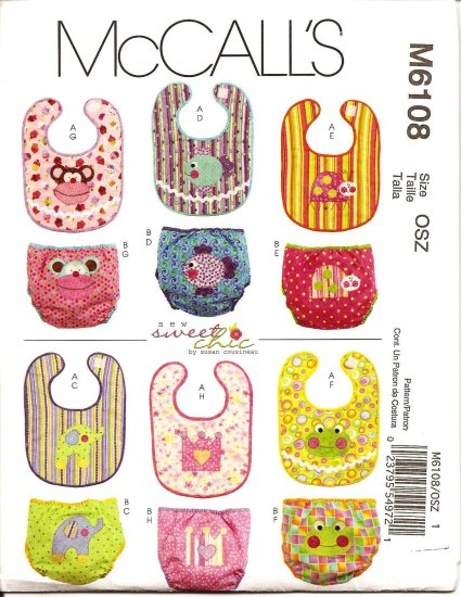 McCalls M6108 INFANTS' BIBS & DIAPER COVERS