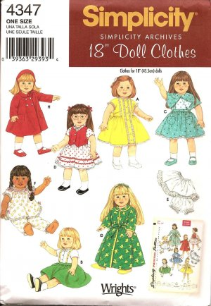 "Simplicity 4347 Craft Pattern for 18"" Doll Clothes"
