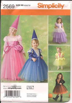 Simplicity 2569 Toddler Costume for Princess's size 4,5,6,7.8