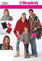 SIMPLICITY 2301 Stadium poncho in 3 sizes and pillow