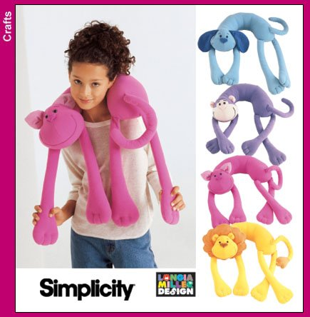 SIMPLICITY 5310  Neck Pillows - Monkey, Dog, Cat and Lion