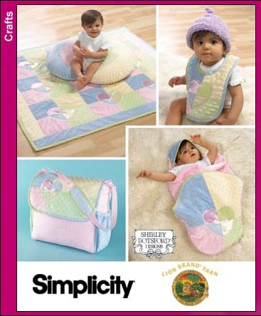 Simplicity 4202  Baby Accessories, Quilt, Pillow Cover, Wrap, Bib, Bag & Hat
