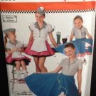 SIMPLICITY 3836 CHILD'S & GIRLS COSTUME-Retro 50s Poodle Skirt Costume Pattern