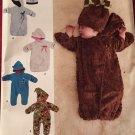 SIMPLICITY J0205 BABIES FLEECE BUNTINGS & HATS... HATS  SZ 1 MOS - 6 MOS