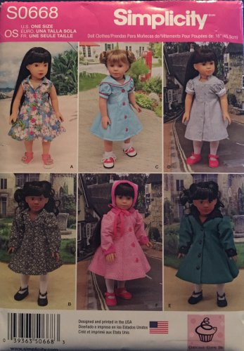 """SIMPLICITY S0668 18"""" Doll Clothes"""