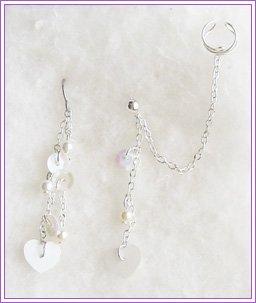 Heart Pearl Dangle Cuff Earring #212