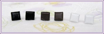 Square Studs Black/Brown/White 3 pairs #309