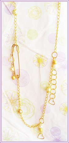 Gold Safety Pin Necklace #509