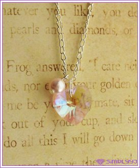 Swarovski Pink AB Heart Necklace #523