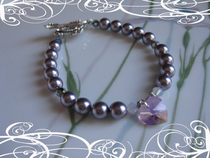 Heart Crystal and Pearl Bracelet