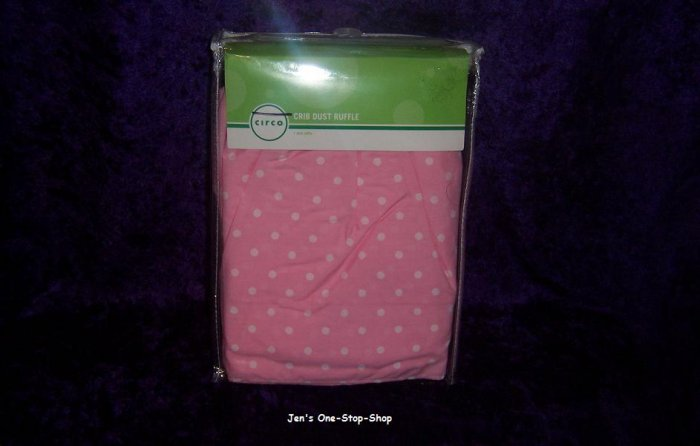 Pink Circo crib dust ruffle w/white polka dots - New In Package!!