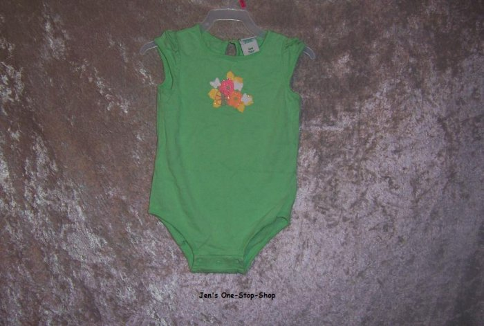 Girls 18 month Circo onsie - green w/flowers