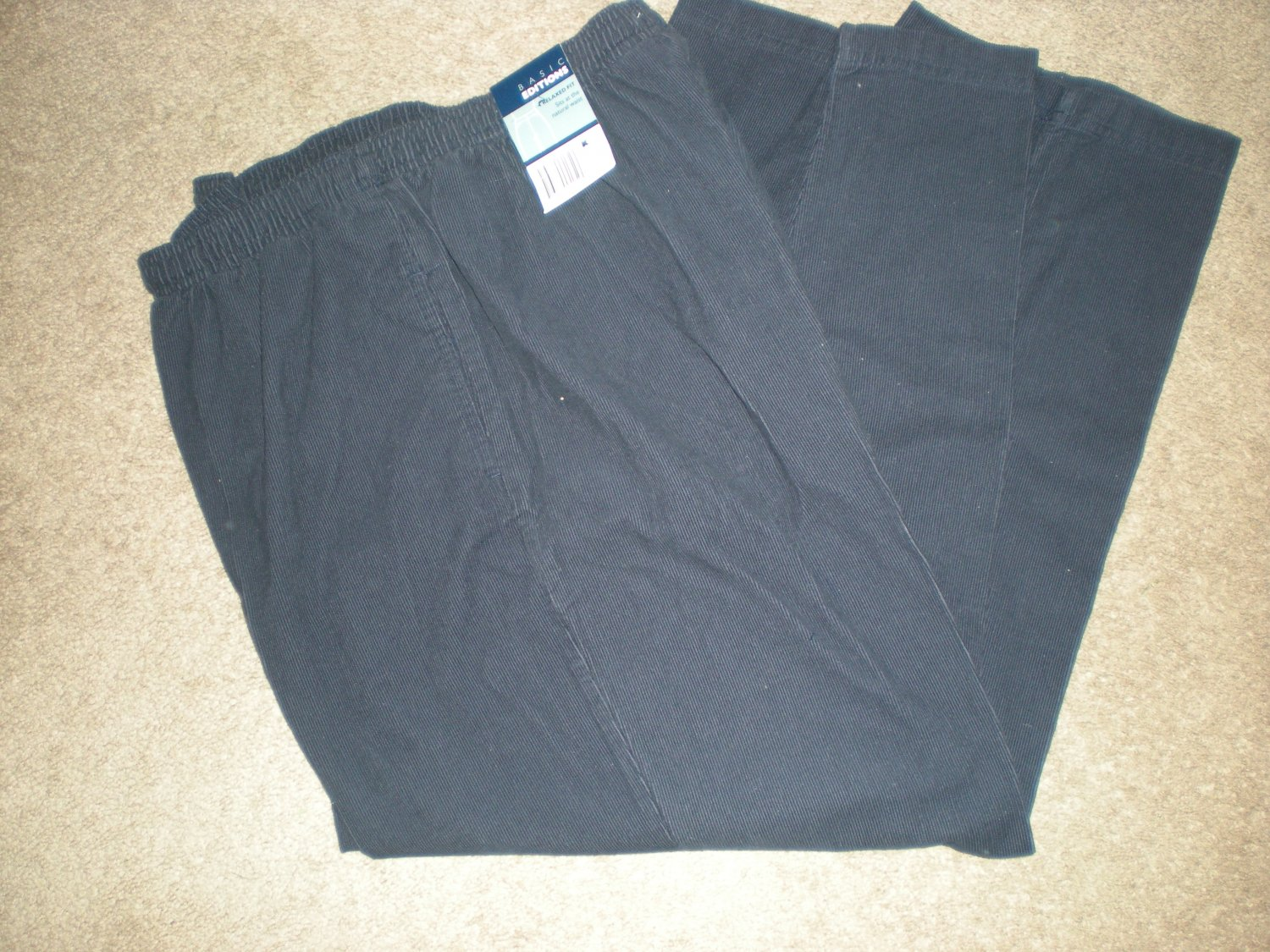 Womens Basic Editions Navy Blue Cords, Pants Size XL  NEW