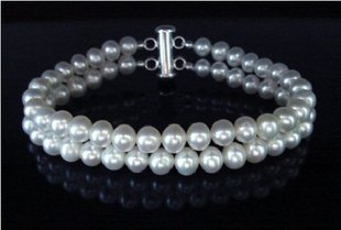 7mm double line  white fresh pearl bracelet  $28