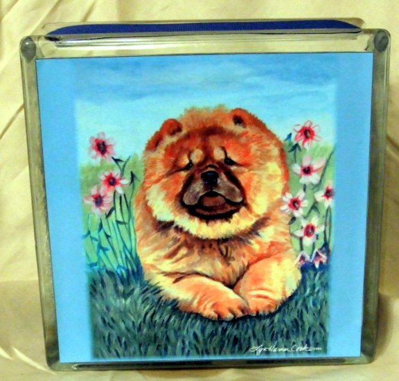 Chow Chow 8x8 Glass Block Light