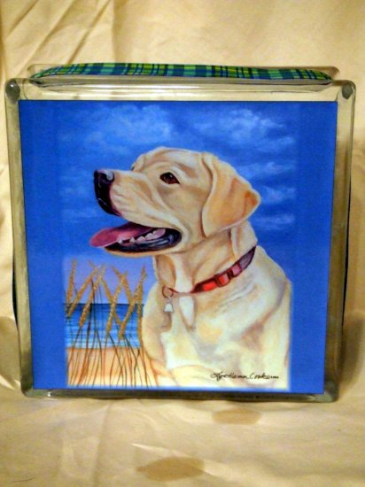 Yellow Labrador Retriever Glass Block 8x8