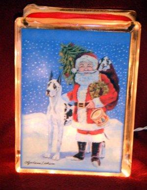 Great Dane Christmas Glass Block 6x8