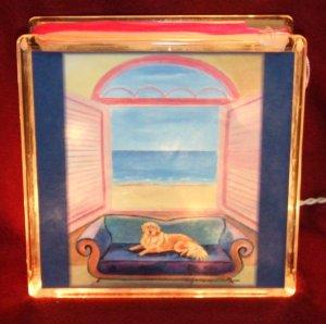 """Golden Retriever 8""""x8"""" Glass Block Light"""