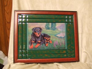 Rottweiler and Pup 11x14 Tile Picture