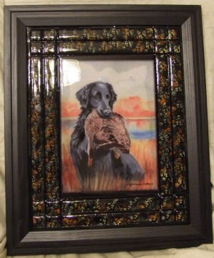 "Flat-Coated Retriever 11""x14"" Tile Picture"