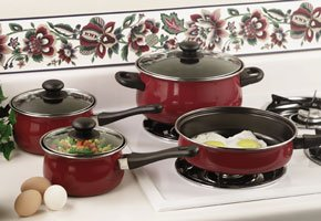 Chefmaster 7pc Non-stick Cookware Set with Look While You Cook See-thru Glass Lids(KT7CR)