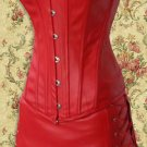 Faux Leather Bustier Corset, Skirt, and Thong ( Red - L ) ~igemini.net~