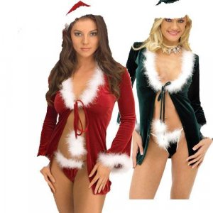 Sexy Holiday Robe with Hat and Thong Costume ( O/S - Red ) ~igemini.net~