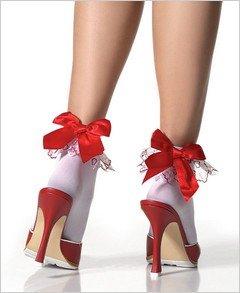 Stockings Embroidered Heart Ruffled Anklet ( OS ) ~igemini.net~