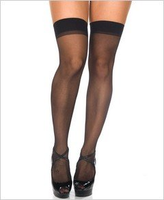 Stockings Sheer Black Thigh High ( OS ) ~igemini.net~