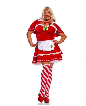 Candy Cane Santa 4-piece Dress Costume ( 1X-2X ) ~igemini.net~