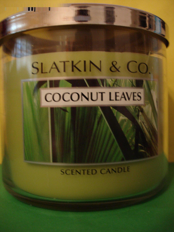 Bath & Body Works Slatkin Coconut Leaves Candle 3 Wick