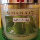 Bath and Body Works Slatkin Basil & Tea Candle 3 Wick 65 hour Large