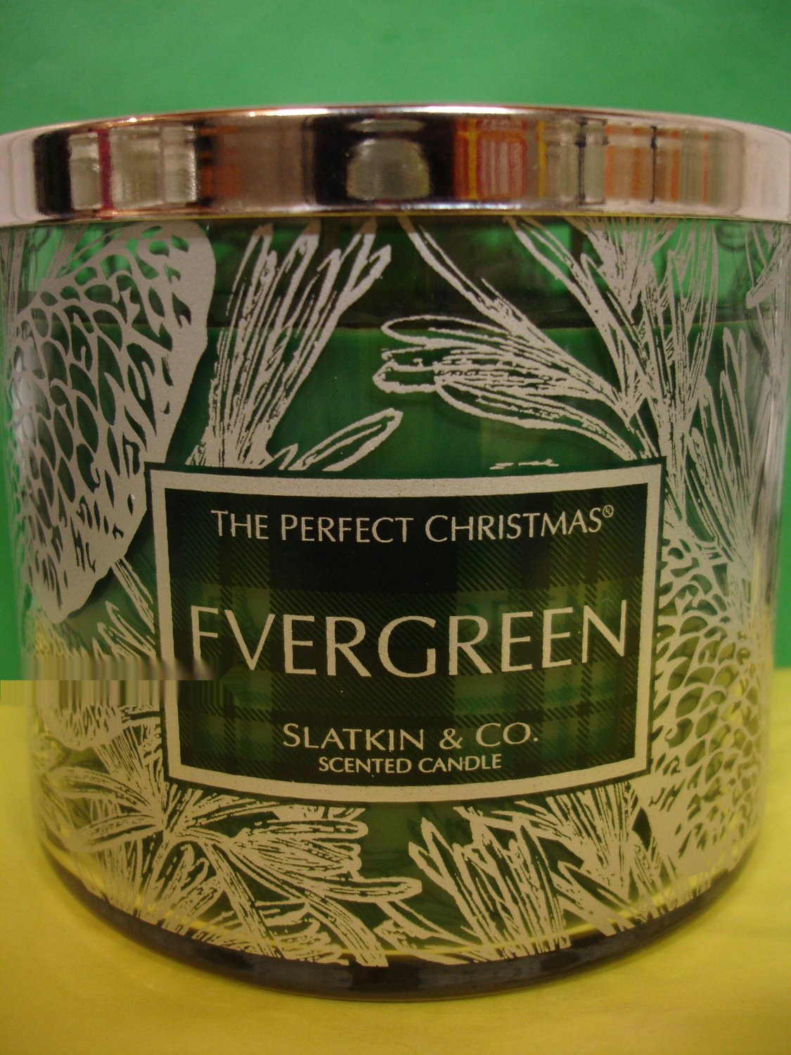 bath and body works slatkin evergreen candle large 3 wick. Black Bedroom Furniture Sets. Home Design Ideas